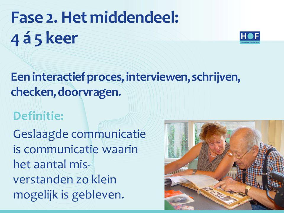 Fase 2. Het middendeel: 4 á 5 keer Een interactief proces, interviewen, schrijven, checken, doorvragen.