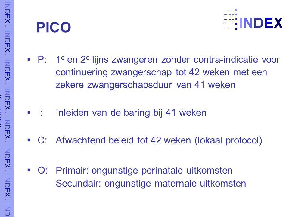 PICO P: 1e en 2e lijns zwangeren zonder contra-indicatie voor continuering zwangerschap tot 42 weken met een zekere zwangerschapsduur van 41 weken.