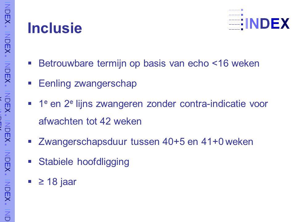 Inclusie Betrouwbare termijn op basis van echo <16 weken