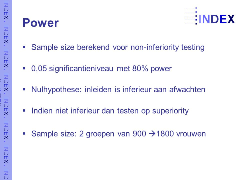 Power Sample size berekend voor non-inferiority testing