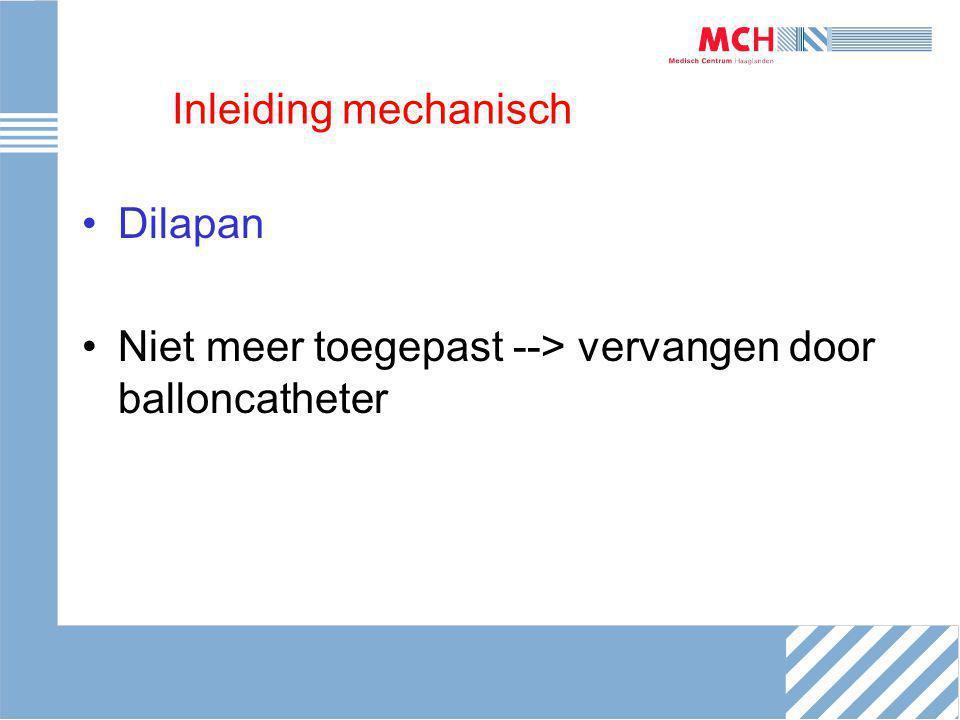 Inleiding mechanisch Dilapan Niet meer toegepast --> vervangen door balloncatheter
