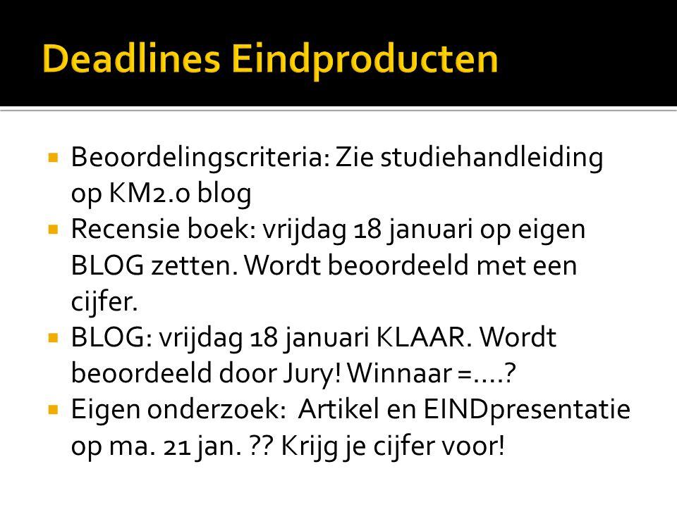 Deadlines Eindproducten