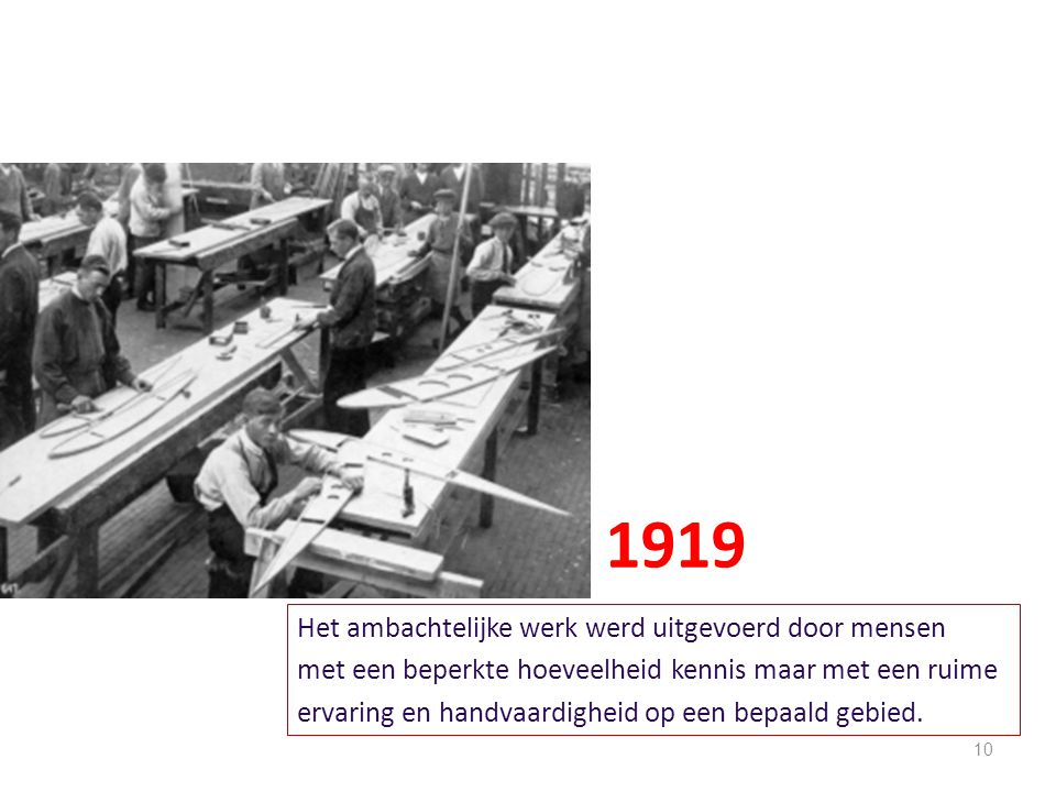 1919 Het ambachtelijke werk werd uitgevoerd door mensen