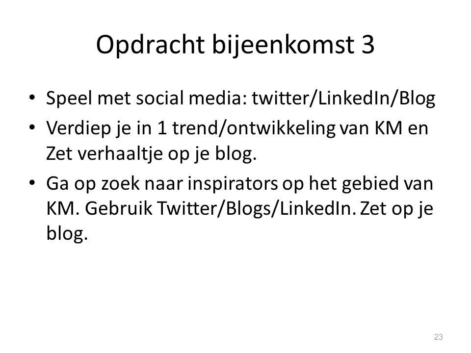 Opdracht bijeenkomst 3 Speel met social media: twitter/LinkedIn/Blog