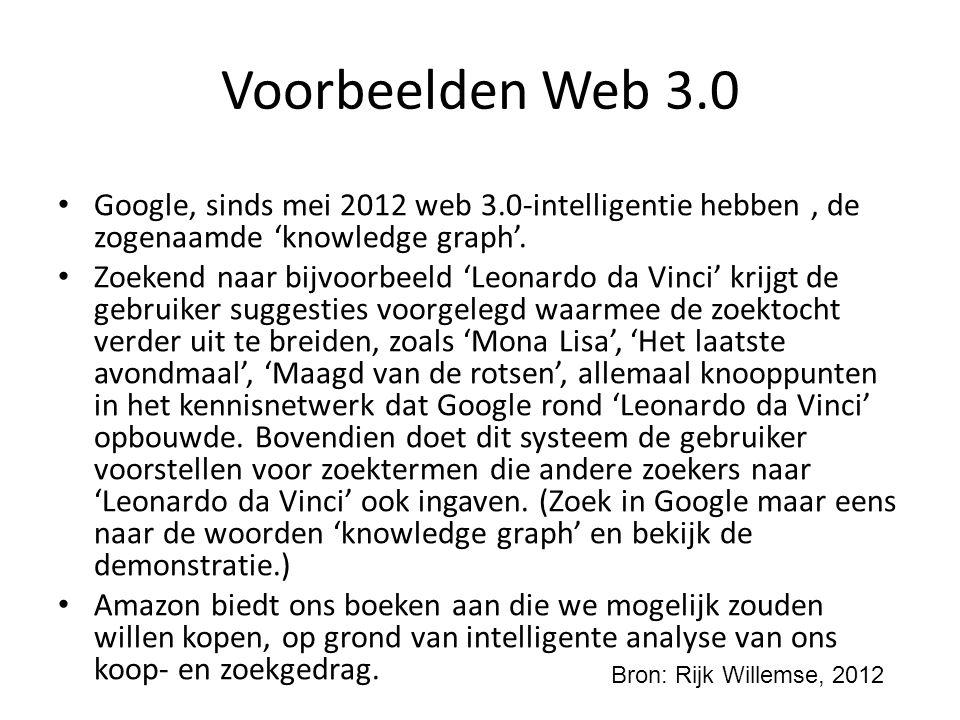 Voorbeelden Web 3.0 Google, sinds mei 2012 web 3.0-intelligentie hebben , de zogenaamde 'knowledge graph'.