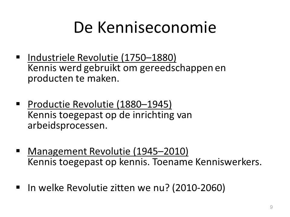 De Kenniseconomie Industriele Revolutie (1750–1880) Kennis werd gebruikt om gereedschappen en producten te maken.