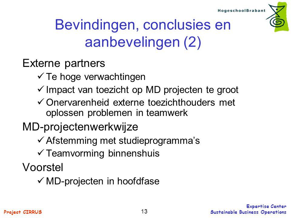 Bevindingen, conclusies en aanbevelingen (2)