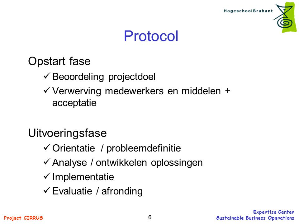 Protocol Opstart fase Uitvoeringsfase Beoordeling projectdoel