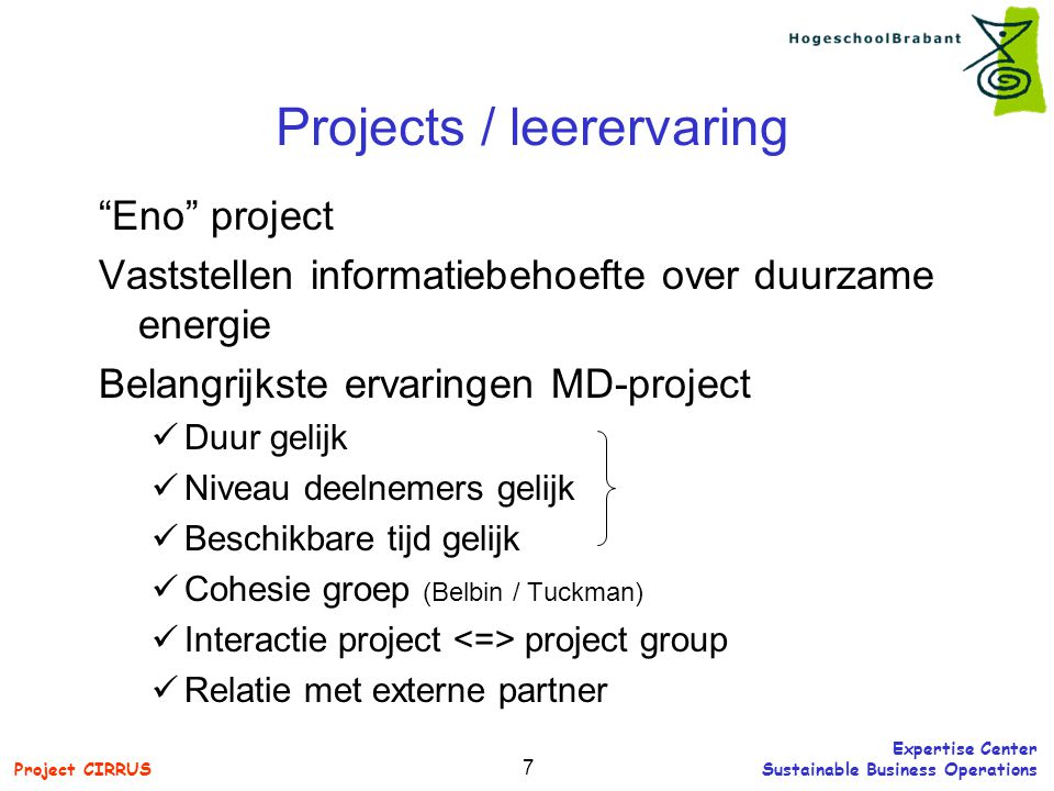 Projects / leerervaring