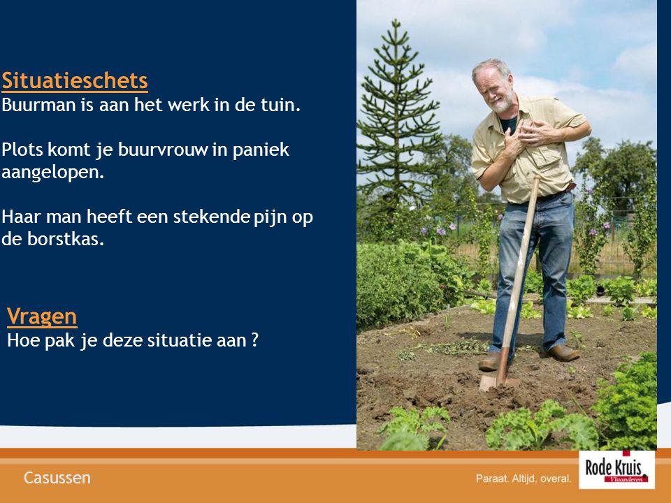 Situatieschets Vragen Buurman is aan het werk in de tuin.