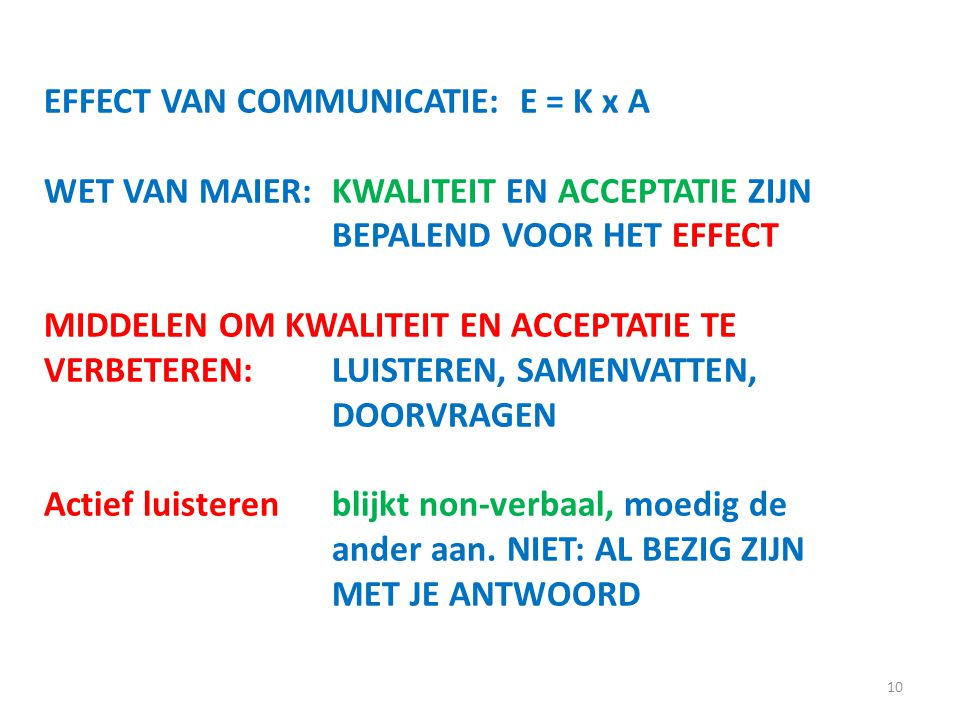 EFFECT VAN COMMUNICATIE: E = K x A
