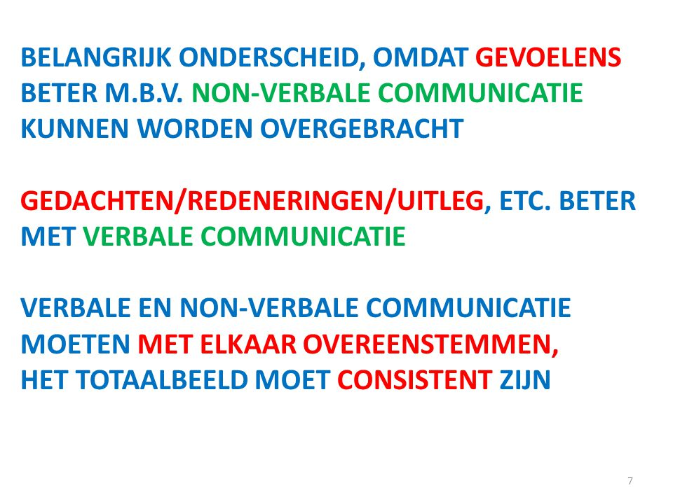 BELANGRIJK ONDERSCHEID, OMDAT GEVOELENS BETER M. B. V