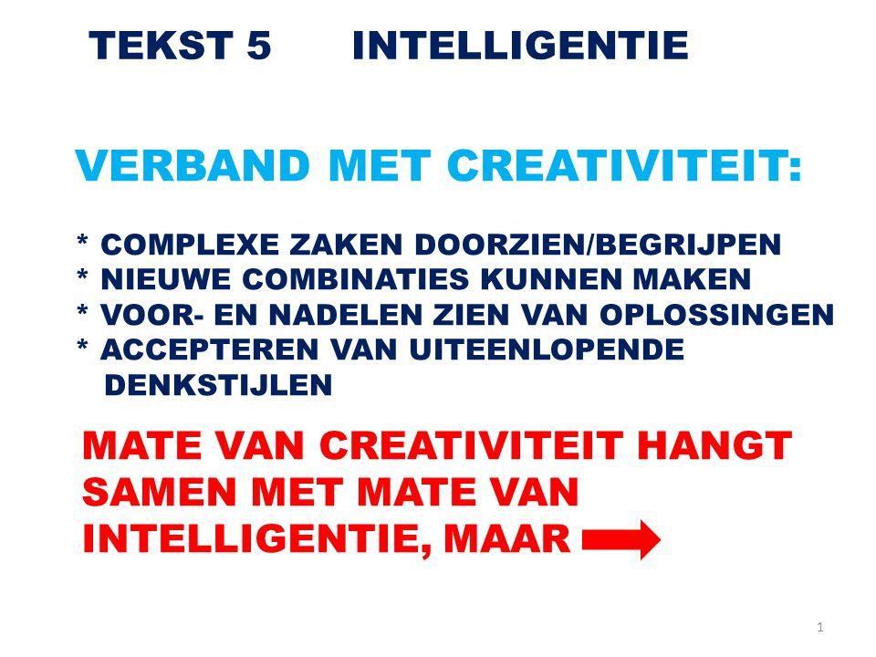 VERBAND MET CREATIVITEIT: