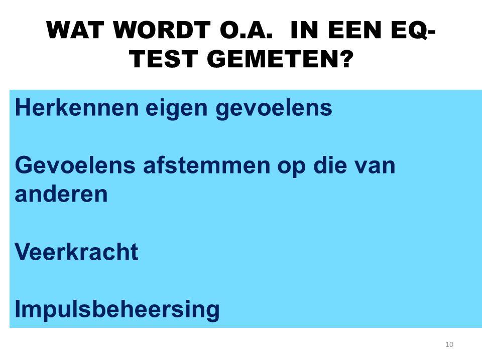 WAT WORDT O.A. IN EEN EQ-TEST GEMETEN