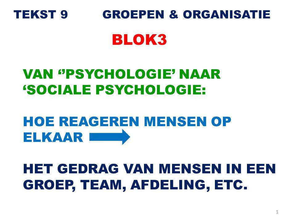 BLOK3 VAN ''PSYCHOLOGIE' NAAR 'SOCIALE PSYCHOLOGIE: