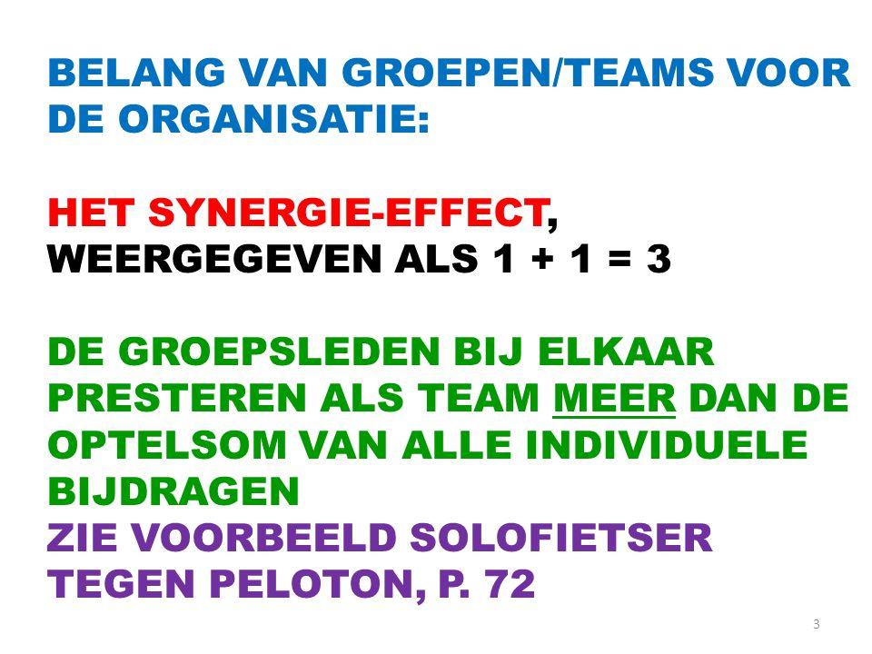BELANG VAN GROEPEN/TEAMS VOOR DE ORGANISATIE: