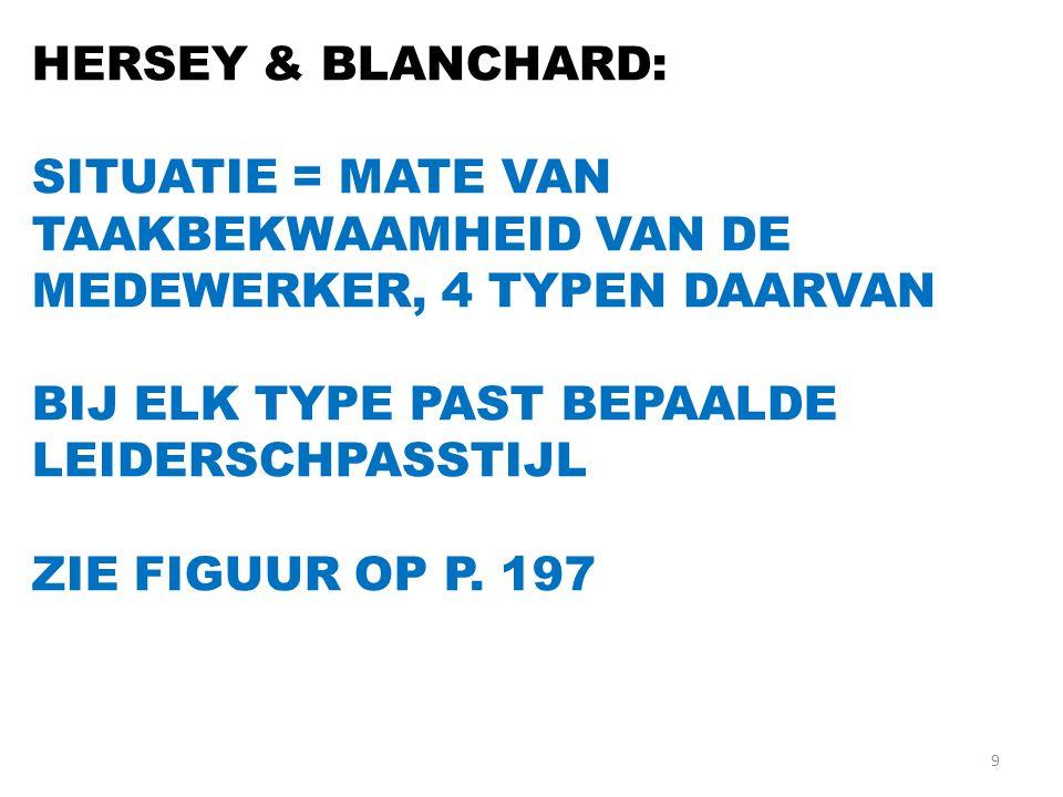 HERSEY & BLANCHARD: SITUATIE = MATE VAN TAAKBEKWAAMHEID VAN DE MEDEWERKER, 4 TYPEN DAARVAN. BIJ ELK TYPE PAST BEPAALDE LEIDERSCHPASSTIJL.