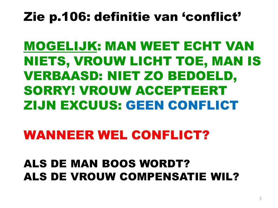 Zie p.106: definitie van 'conflict'
