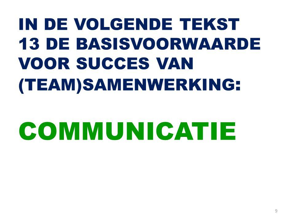 IN DE VOLGENDE TEKST 13 DE BASISVOORWAARDE VOOR SUCCES VAN (TEAM)SAMENWERKING: