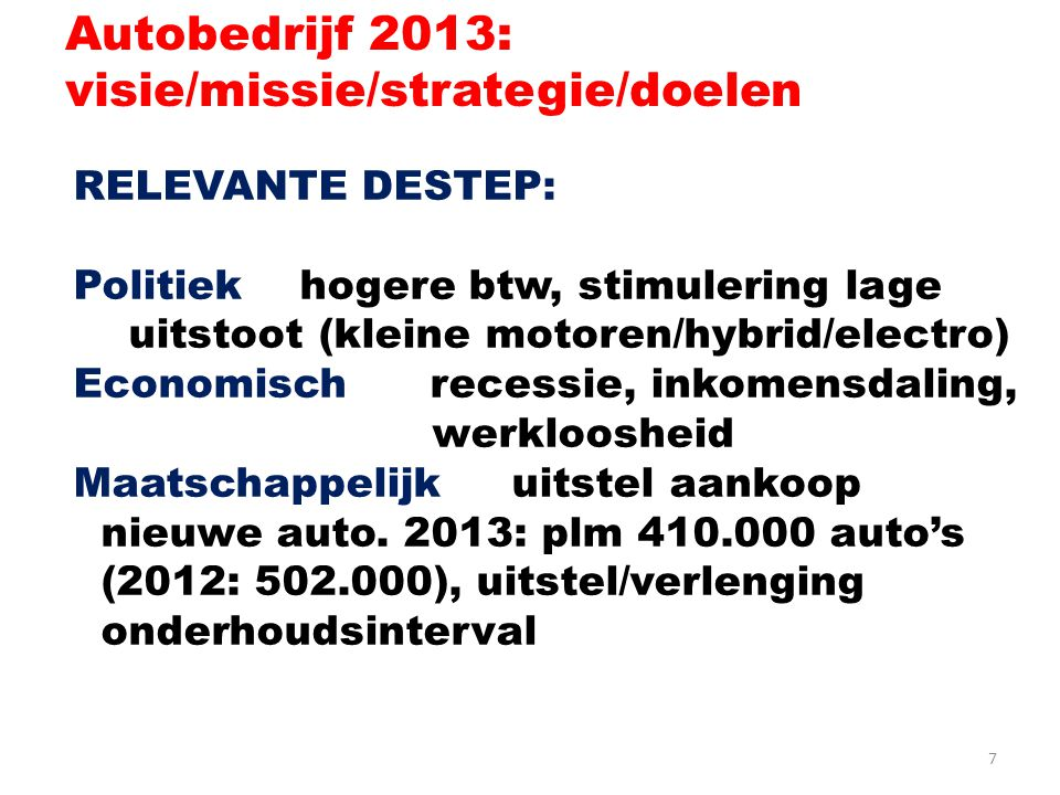 Autobedrijf 2013: visie/missie/strategie/doelen