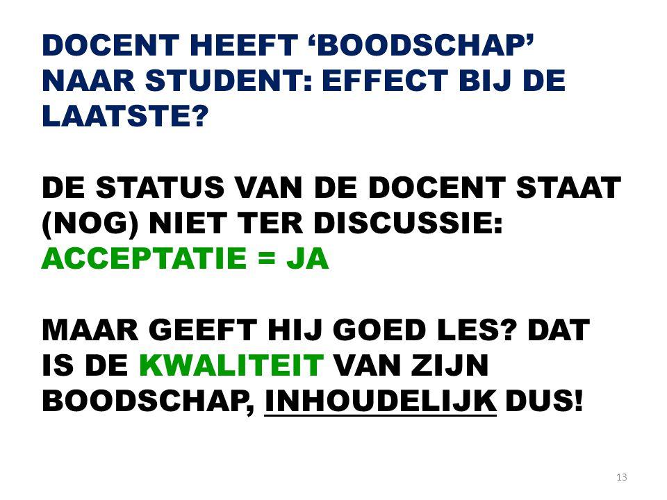DOCENT HEEFT 'BOODSCHAP' NAAR STUDENT: EFFECT BIJ DE LAATSTE