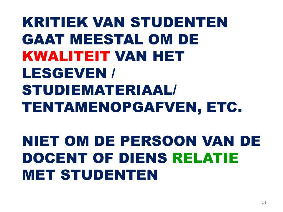 KRITIEK VAN STUDENTEN GAAT MEESTAL OM DE KWALITEIT VAN HET LESGEVEN / STUDIEMATERIAAL/ TENTAMENOPGAFVEN, ETC.
