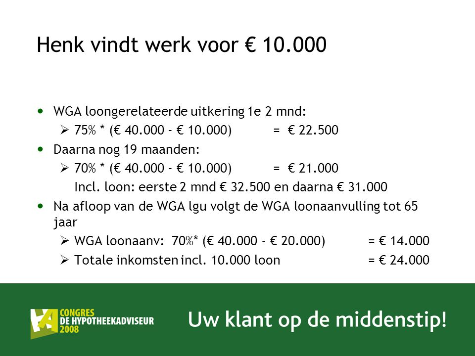 Henk vindt werk voor € 10.000 WGA loongerelateerde uitkering 1e 2 mnd: