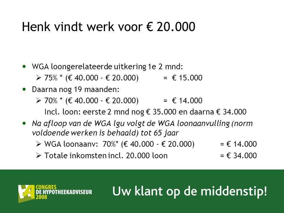 Henk vindt werk voor € 20.000 WGA loongerelateerde uitkering 1e 2 mnd: