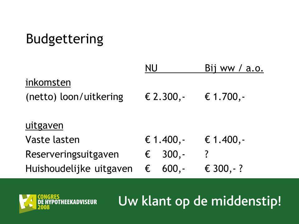 Budgettering NU Bij ww / a.o. inkomsten