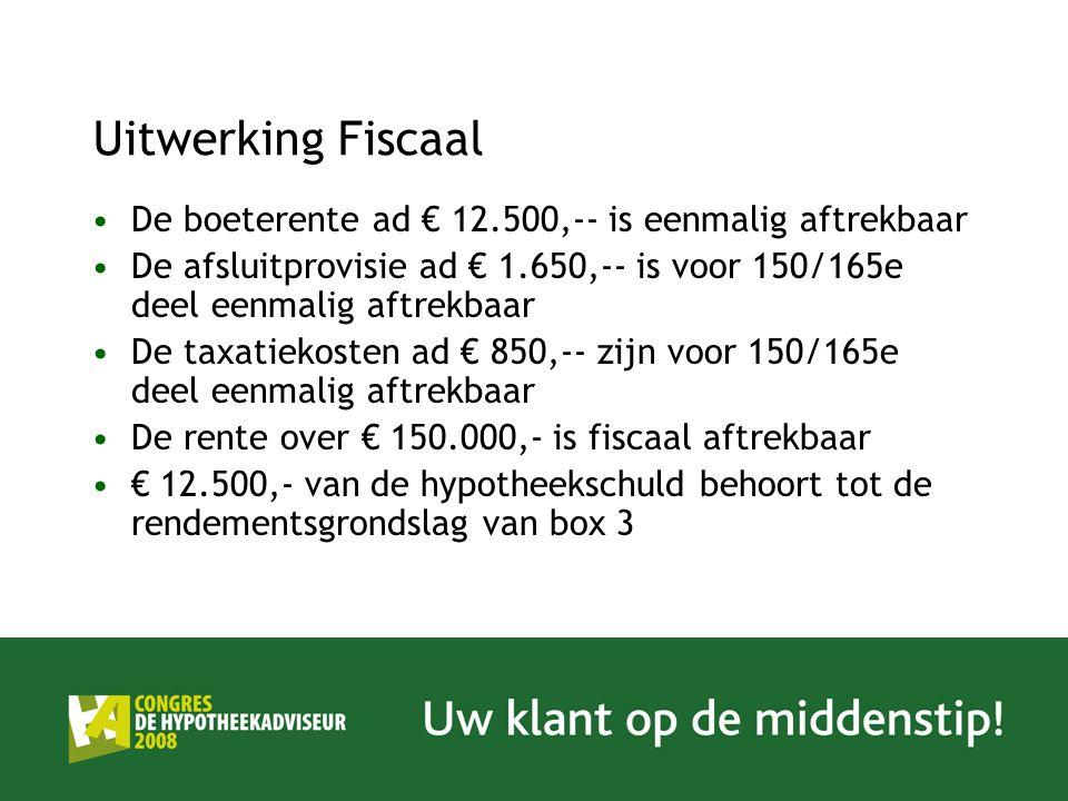 Uitwerking Fiscaal De boeterente ad € 12.500,-- is eenmalig aftrekbaar