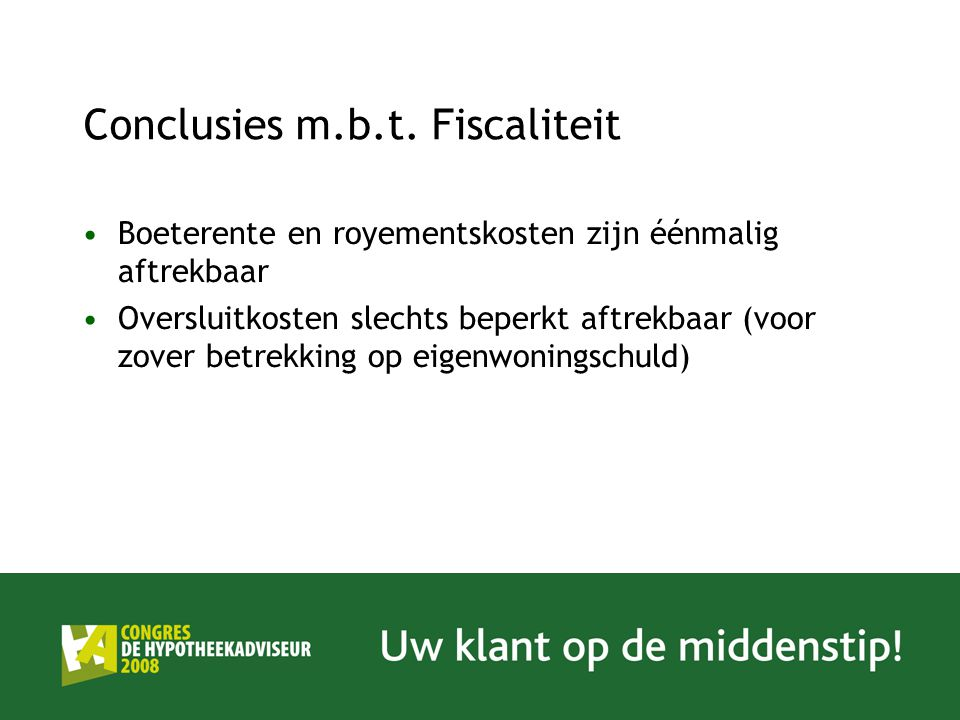 Conclusies m.b.t. Fiscaliteit