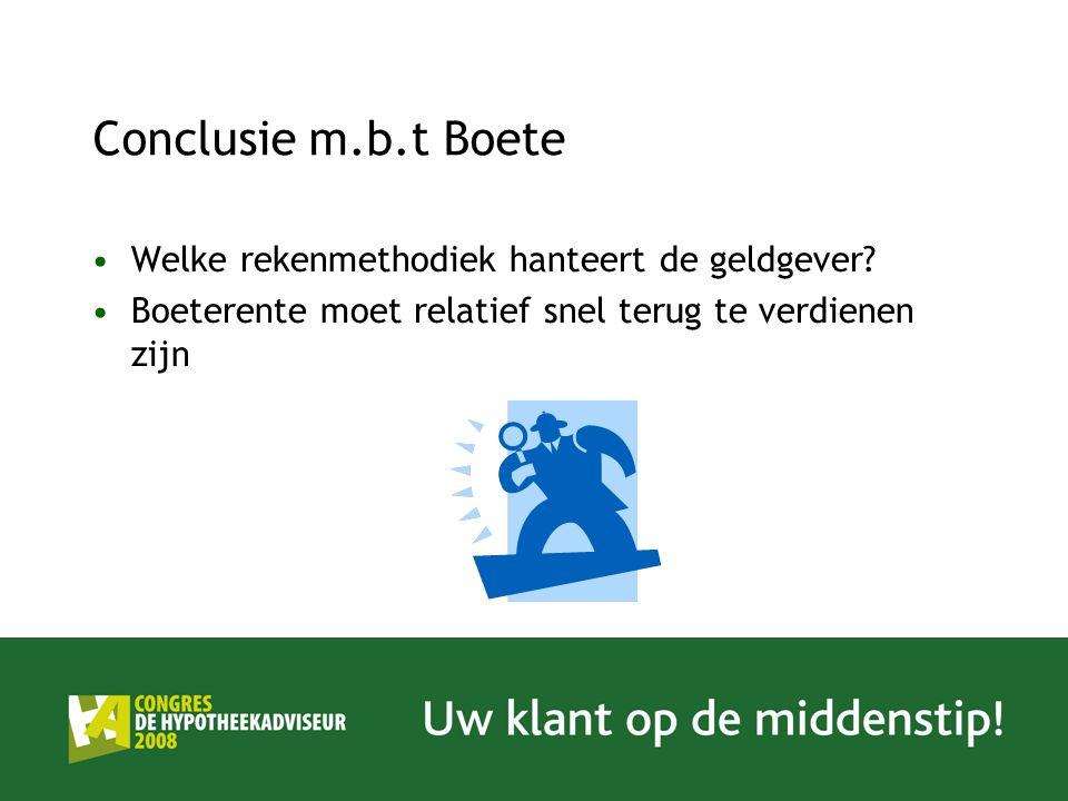 Conclusie m.b.t Boete Welke rekenmethodiek hanteert de geldgever