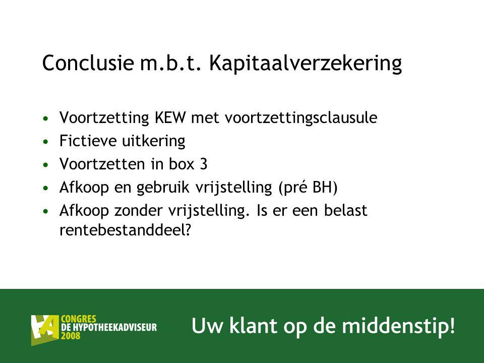 Conclusie m.b.t. Kapitaalverzekering