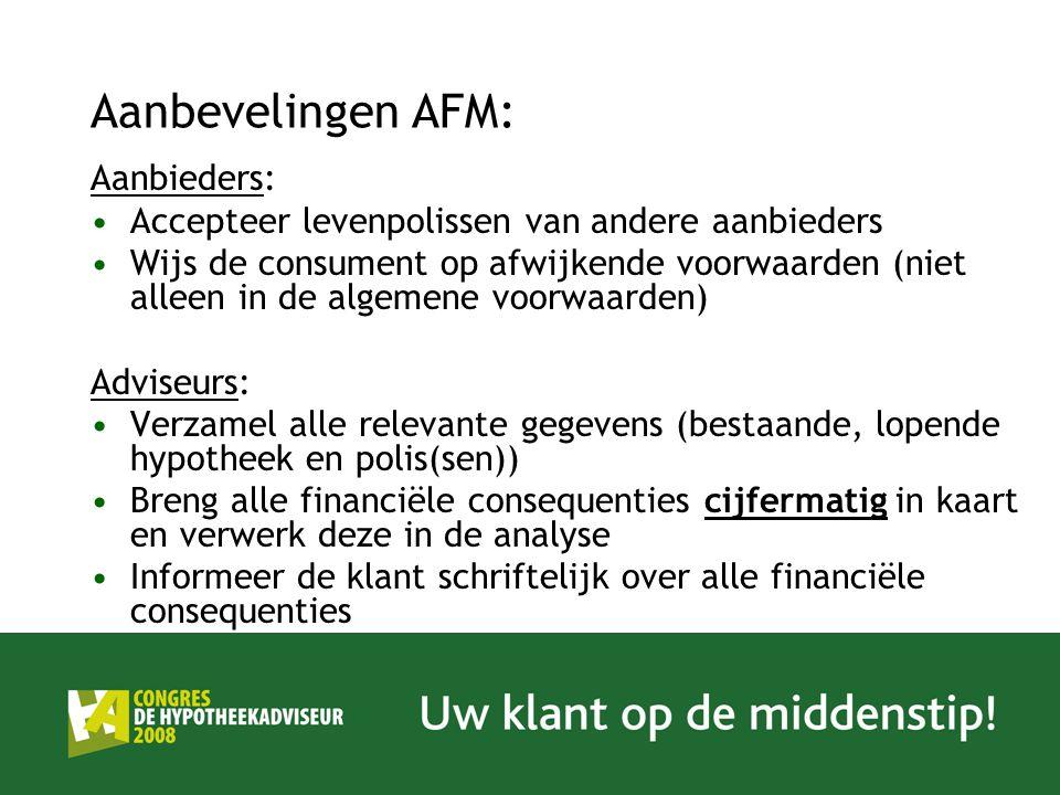 Aanbevelingen AFM: Aanbieders: