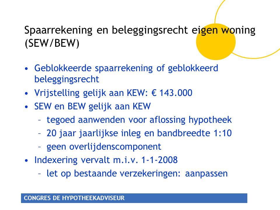 Spaarrekening en beleggingsrecht eigen woning (SEW/BEW)