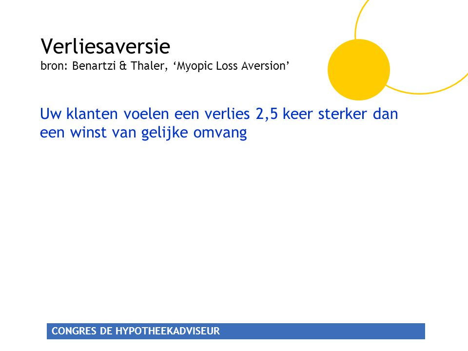 Verliesaversie bron: Benartzi & Thaler, 'Myopic Loss Aversion'