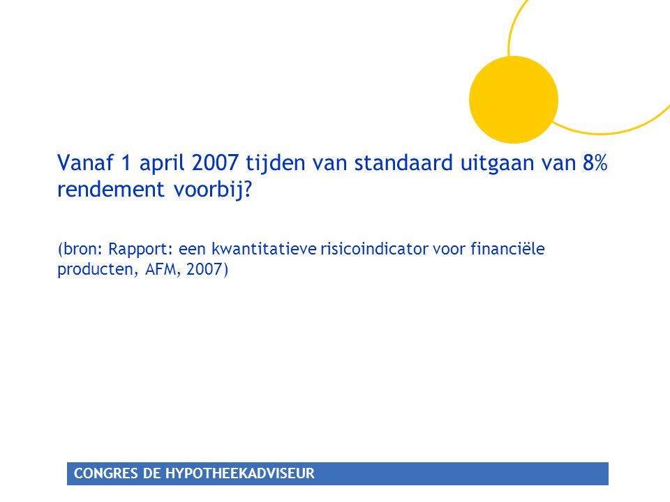 Vanaf 1 april 2007 tijden van standaard uitgaan van 8% rendement voorbij