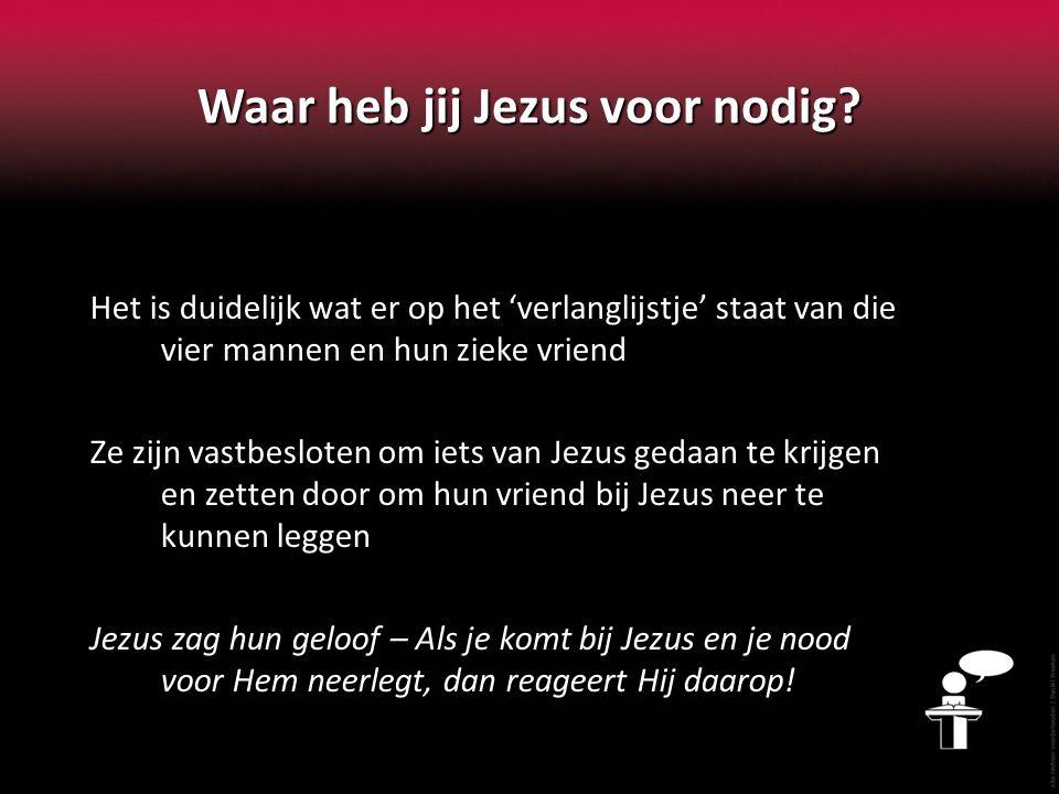 Waar heb jij Jezus voor nodig
