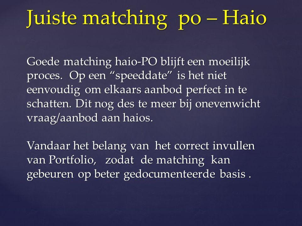 Juiste matching po – Haio Goede matching haio-PO blijft een moeilijk proces.
