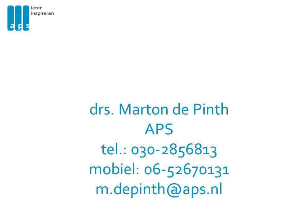 drs. Marton de Pinth APS tel. : 030-2856813 mobiel: 06-52670131 m