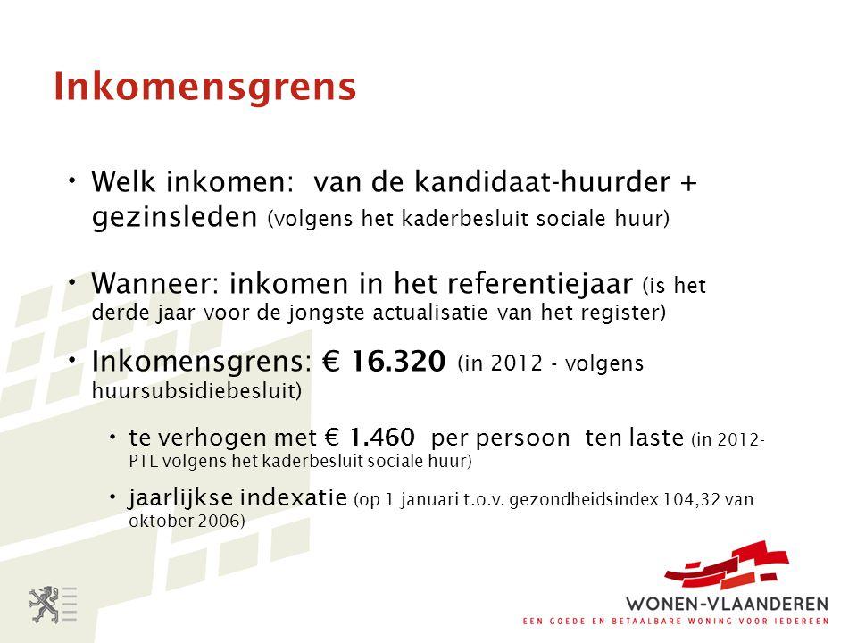 Inkomensgrens Welk inkomen: van de kandidaat-huurder + gezinsleden (volgens het kaderbesluit sociale huur)