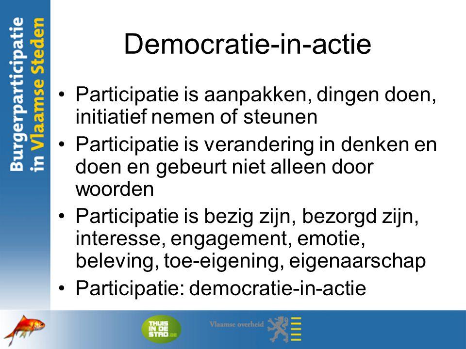 Democratie-in-actie Participatie is aanpakken, dingen doen, initiatief nemen of steunen.
