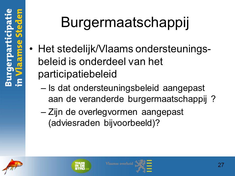 Burgermaatschappij Het stedelijk/Vlaams ondersteunings-beleid is onderdeel van het participatiebeleid.
