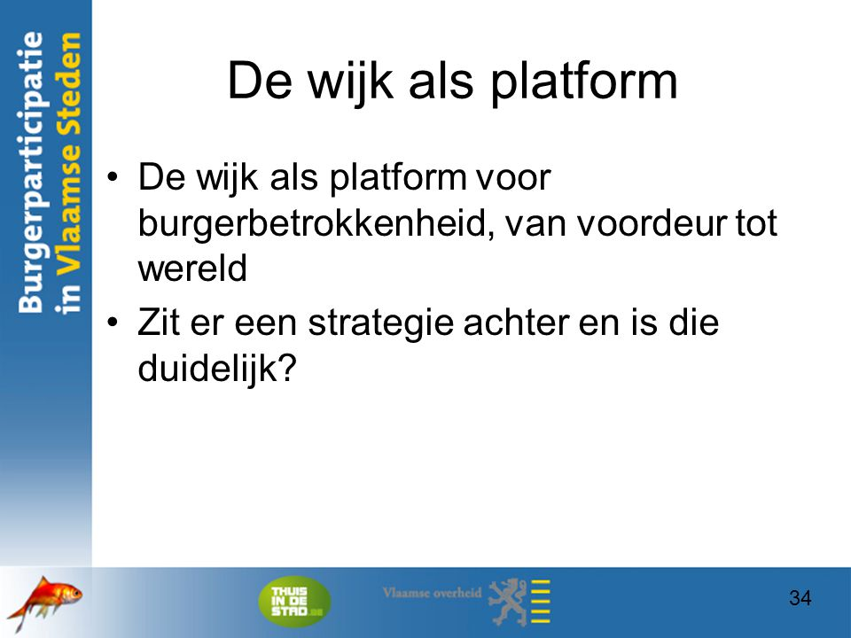 De wijk als platform De wijk als platform voor burgerbetrokkenheid, van voordeur tot wereld. Zit er een strategie achter en is die duidelijk