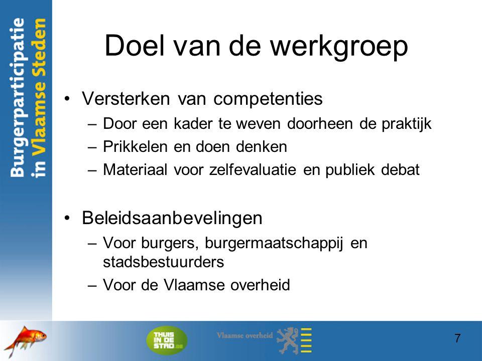 Doel van de werkgroep Versterken van competenties Beleidsaanbevelingen