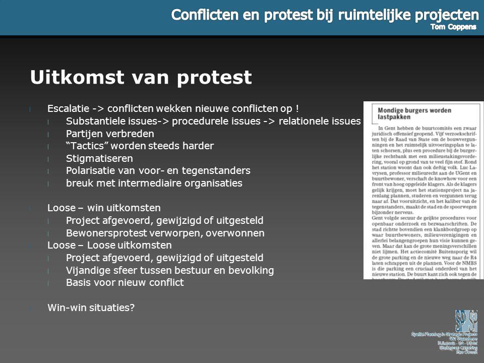 Uitkomst van protest Escalatie -> conflicten wekken nieuwe conflicten op ! Substantiele issues-> procedurele issues -> relationele issues.