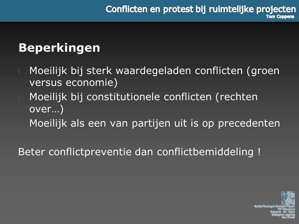 Beperkingen Moeilijk bij sterk waardegeladen conflicten (groen versus economie) Moeilijk bij constitutionele conflicten (rechten over…)