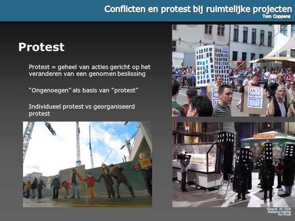 Protest Protest = geheel van acties gericht op het veranderen van een genomen beslissing. Ongenoegen als basis van protest