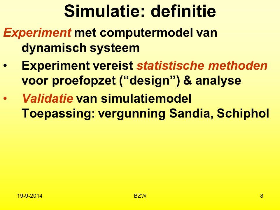 Simulatie: definitie Experiment met computermodel van dynamisch systeem.