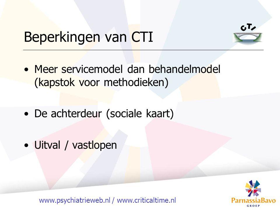 Beperkingen van CTI Meer servicemodel dan behandelmodel (kapstok voor methodieken) De achterdeur (sociale kaart)